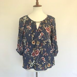By & By Quarter Sleeve Floral Blouse with Slits